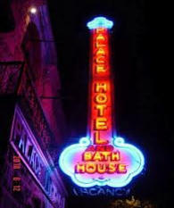Palace Hotel Neon Sign at Night Eureka Springs AR